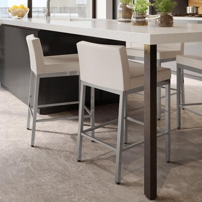 Fairfield 26 Bar Stool Frame Finish: Glossy Gray, Upholstery Color: Beige