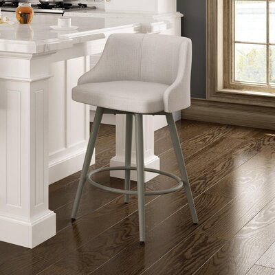 Duncan 31.75 Swivel Bar Stool Frame Finish: Sun Gold, Upholstery Color/Type: Pale Gray/Polyester
