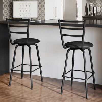 Sandy 30.5 Swivel Bar Stool Frame Finish: Textured Black