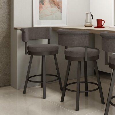 Rosco 26.75 inch Swivel Bar Stool Frame Finish: Dark Brown, Upholstery Color/Type: Warm Medium Gray/Polyester