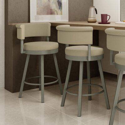 Rosco 26.75 inch Swivel Bar Stool Frame Finish: Matte Light Gray, Upholstery Color/Type: Beige/Fabric