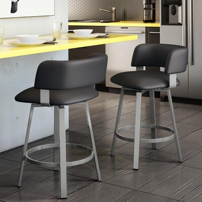 Stinson 30 Swivel Bar Stool Frame Finish: Textured Black, Upholstery Color/Type: Matte Charcoal Black/Polyurethane