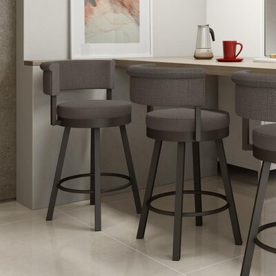 Rosco 30.75 Swivel Bar Stool Frame Finish: Matte Light Gray, Upholstery Color/Type: Warm Medium Gray/Polyester