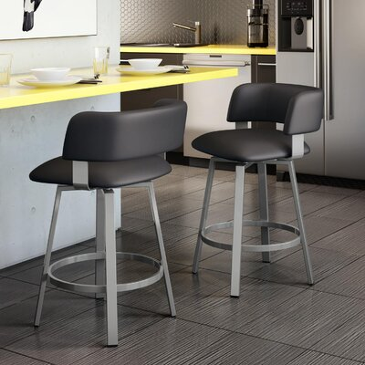 Stinson 26 Swivel Bar Stool Frame Finish: Textured Black, Upholstery Color/Type: Matte Charcoal Black/Polyurethane