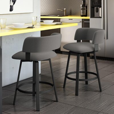 Stinson 26 Swivel Bar Stool Frame Finish: Textured Black, Upholstery Color/Type: Light Cold Gray/Polyester