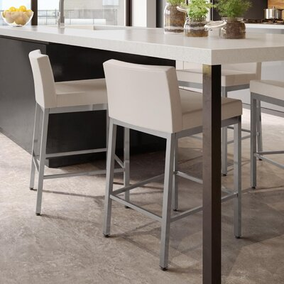 Fairfield 30 Bar Stool Frame Finish: Glossy Gray, Upholstery Color: Beige