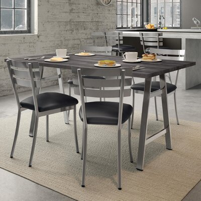Maya 5 Piece Dining Set Chair Color: Gray, Table Color: Black