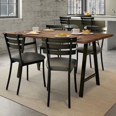 Maya 5 Piece Dining Set Chair Color: Black, Table Color: Brown