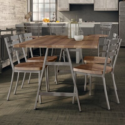 Maya Metal 5 Piece Dining Set Table Color: Brown, Chair Color: Gun