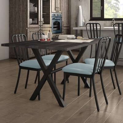 Raritan Distressed 5 Piece Dining Set Table Base Color: Black