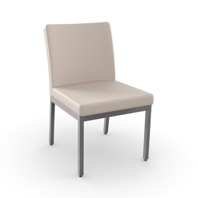 Perry Side Chair Finish: Textured Dark Brown Metal, Upholstery: Grey