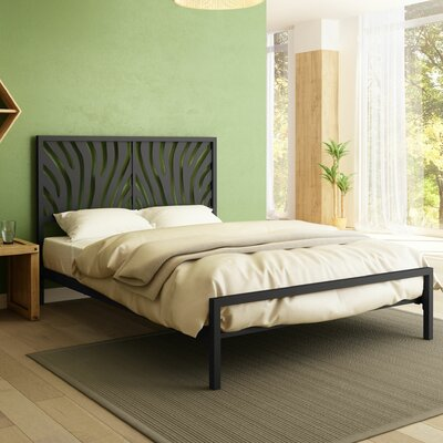 Zebra Platform Bed Size: Queen, Color: Textured Black