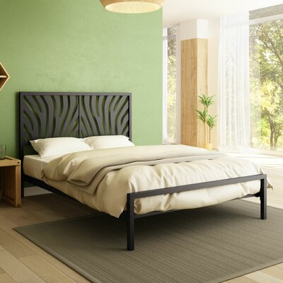 Zebra Platform Bed Size: Queen, Color: Textured Dark Brown