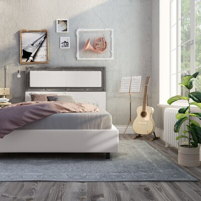 Ternes 3 Piece Foam Platform Bed Set Finish: Gray Wood, Size: Queen, Upholstery: White PU