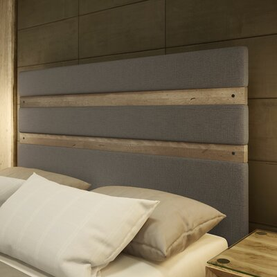 Dunder Upholstered Panel Headboard Size: Full, Color: Gray/Beige