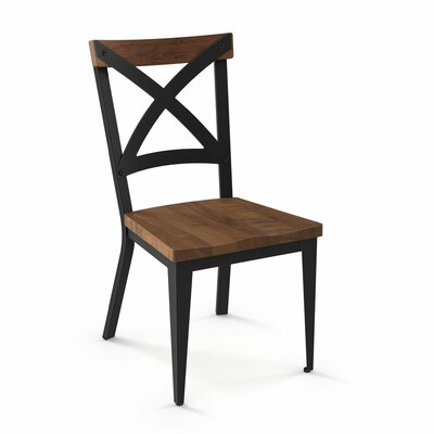 Minoru Solid Wood Dining Chair Color: Black/Brown