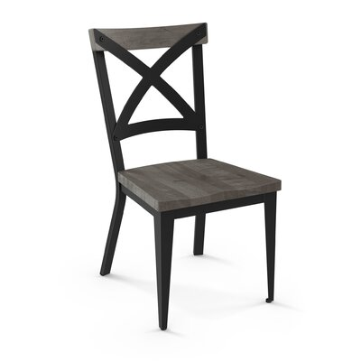 Minoru Solid Wood Dining Chair Color: Black/Gray