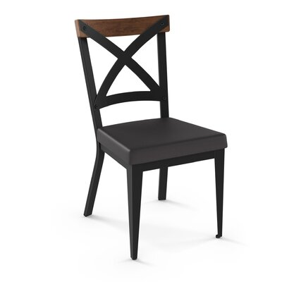 Esmund Solid Wood Dining Chair Color: Charcoal Black/Brown