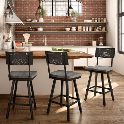 Harleigh 26 Bar Stool Finish: Black/Gray