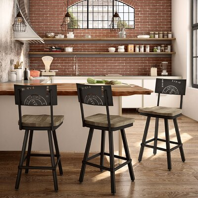Harleigh 30 Bar Stool Finish: Beige/Black