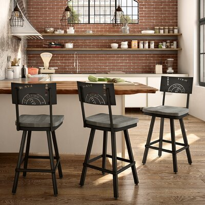 Harleigh 30 Bar Stool Finish: Black/Gray