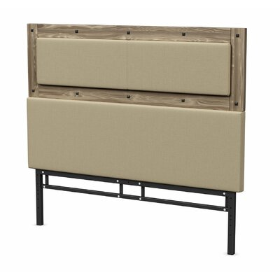 Ternes Foam Panel Headboard Size: Full, Color: Beige Wood, Upholstery: Beige Fabric