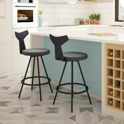 Azura 27 Swivel Bar Stool Upholstery: Black/Gray