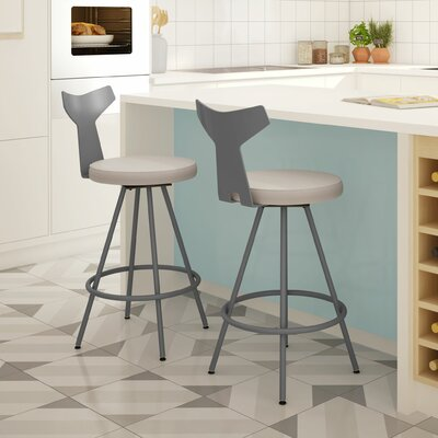 Azura 27 Swivel Bar Stool Upholstery: Gray/Beige