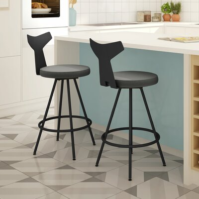 Azura 31 Swivel Bar Stool Upholstery: Black/Gray
