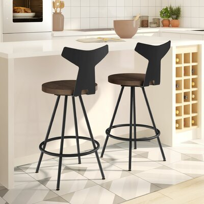 Avondale 26 Swivel Bar Stool Finish: Black/Brown