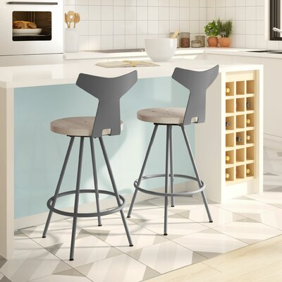 Avondale 26 Swivel Bar Stool Finish: Gray/Beige