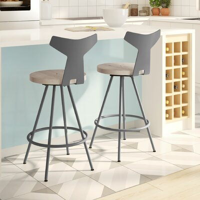 Avondale 30 Swivel Bar Stool Finish: Gray/Beige