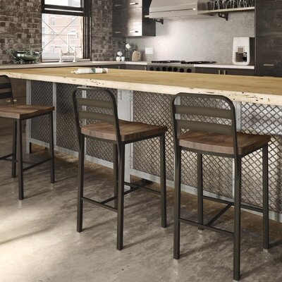 Crystelle 28.75 Bar Stool Color: Gray Metal/Gray Wood