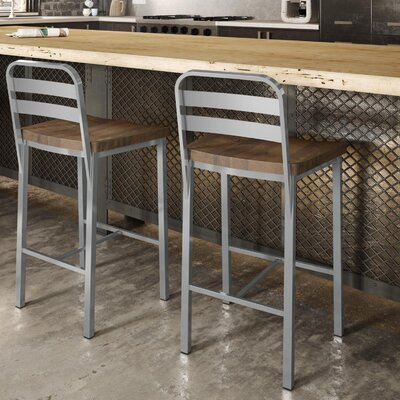 Crystelle 28.75 Bar Stool Color: Gray Metal/Brown Wood
