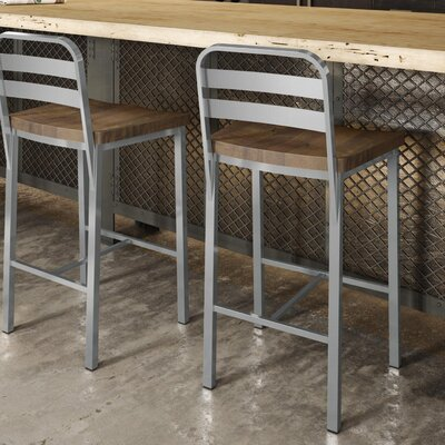 Crystelle 24.75 Bar Stool Color: Gray Metal/Brown Wood