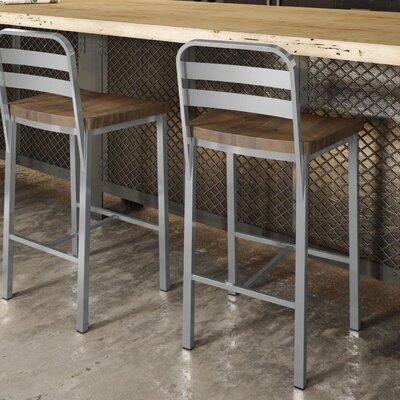 Crystelle 24.75 Bar Stool Color: Gray Metal/Brown Wood