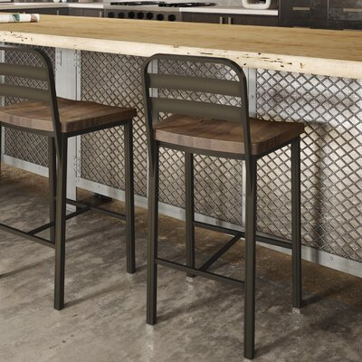 Crystelle 24.75 Bar Stool Color: Metal/Brown Wood