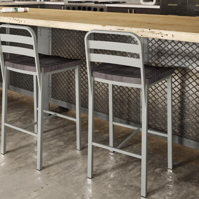 Crystelle 24.75 Bar Stool Color: Gray Wood