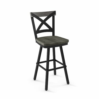 Kirsten 46.38 Swivel Bar Stool Color: Black /Light Gray