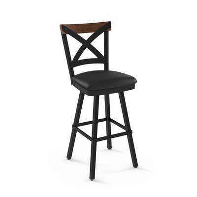 Karsten 26.5 Swivel Bar Stool Color: Mat Charcoal Black Polyurethane Medium Brown Wood