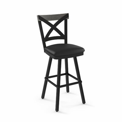 Karsten 26.5 Swivel Bar Stool Color: Mat Charcoal Black Polyurethane Light Gray Wood