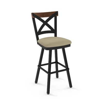 Karsten 26.5 Swivel Metal Frame Bar Stool Color: Beige Fabric Medium Brown Wood