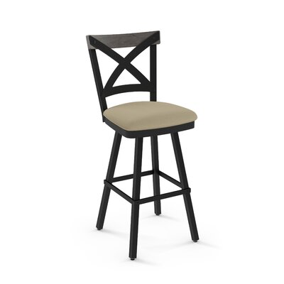 Karsten 30.5 Swivel Metal Frame Bar Stool Color: Beige Fabric Light Gray Wood