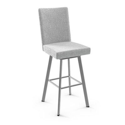 Lykins 44.25 Swivel Bar Stool Color: Glossy Gray Metal/Soft Gray White Polyester