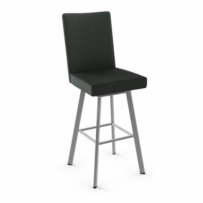 Lykins 48.25 Swivel Bar Stool Color: Glossy Gray Metal/Soft Black Polyester