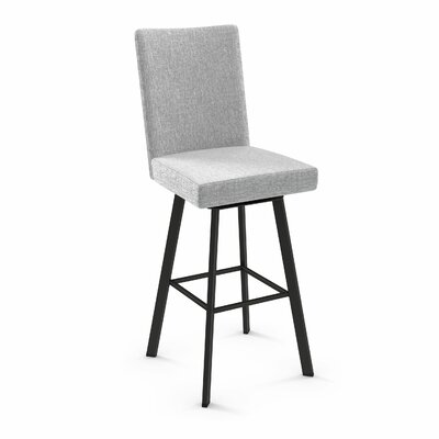 Lykins 44.25 Swivel Bar Stool Color: Textured Dark Brown Metal/Gray White Polyester