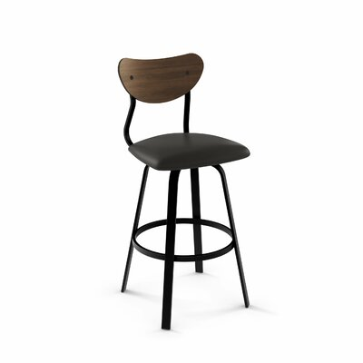 Demko 39 Swivel Bar Stool Color: Textured Black Metal/Black Polyurethane