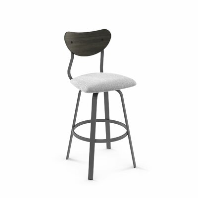 Demko 43 Swivel Bar Stool Color: Matte Dark Gray Metal/Soft Gray White Polyester