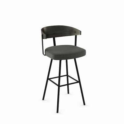 Amir 35.5 Swivel Bar Stool Color: Textured Black Metal/Charcoal Gray Polyester