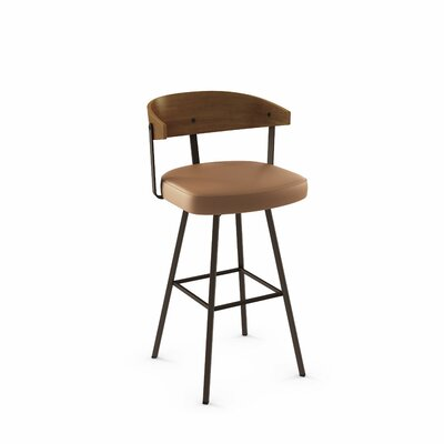 Amir 35.5 Swivel Bar Stool Color: Textured Dark Brown Metal/Caramel Polyurethane